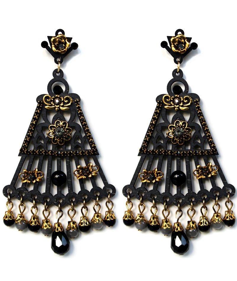 Σκουλαρίκια Μεγάλα Κρεμαστά Wooden Black - ΚΟΣΜΗΜΑΤΑ b9b10c64a93