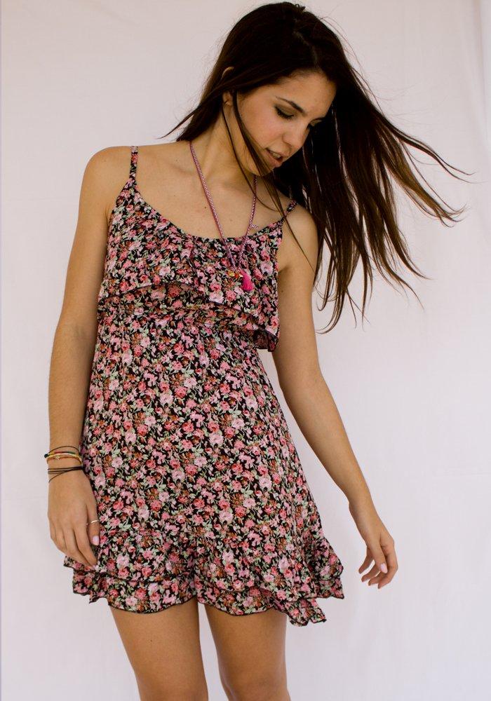 Κοντό Μαύρο Floral Φόρεμα με ροζ λουλούδια - ΡΟΥΧΑ a05e8c01ee8