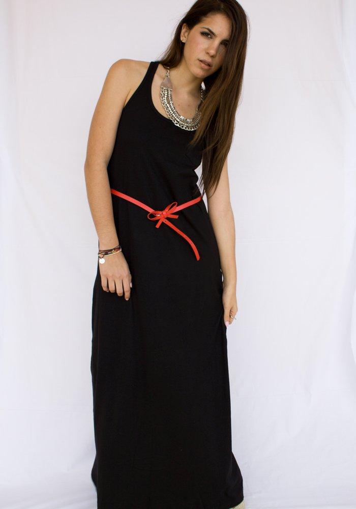 Maxi Φόρεμα Μαύρο με κόκκινη ζώνη - ΡΟΥΧΑ 45d798796b6