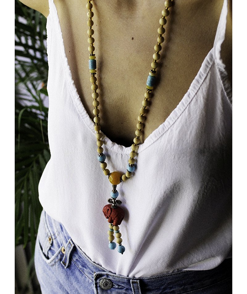 Earthiness on Fire Beaded Necklace