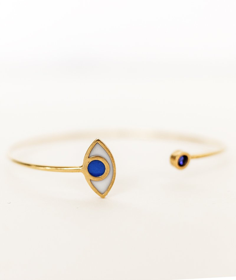 Εvil Eye Gemstone Bangle - Handmade
