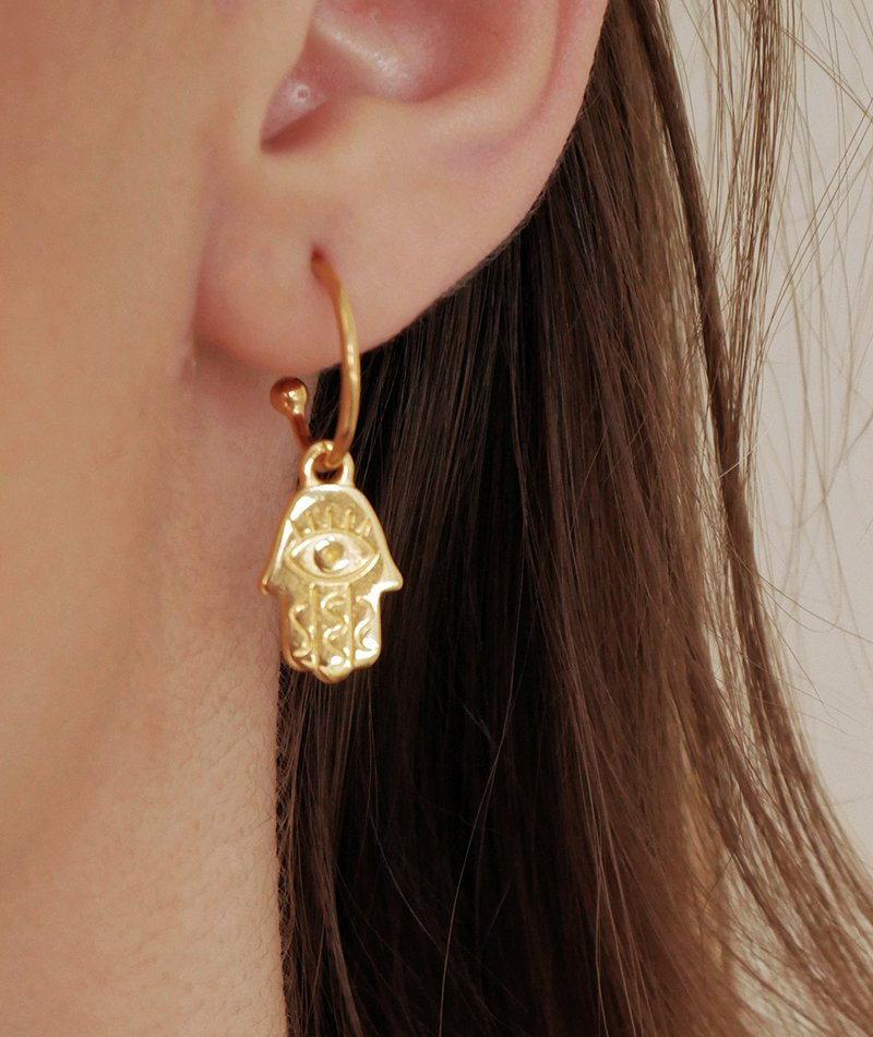 Khamsa Golden Earrings - Handmade