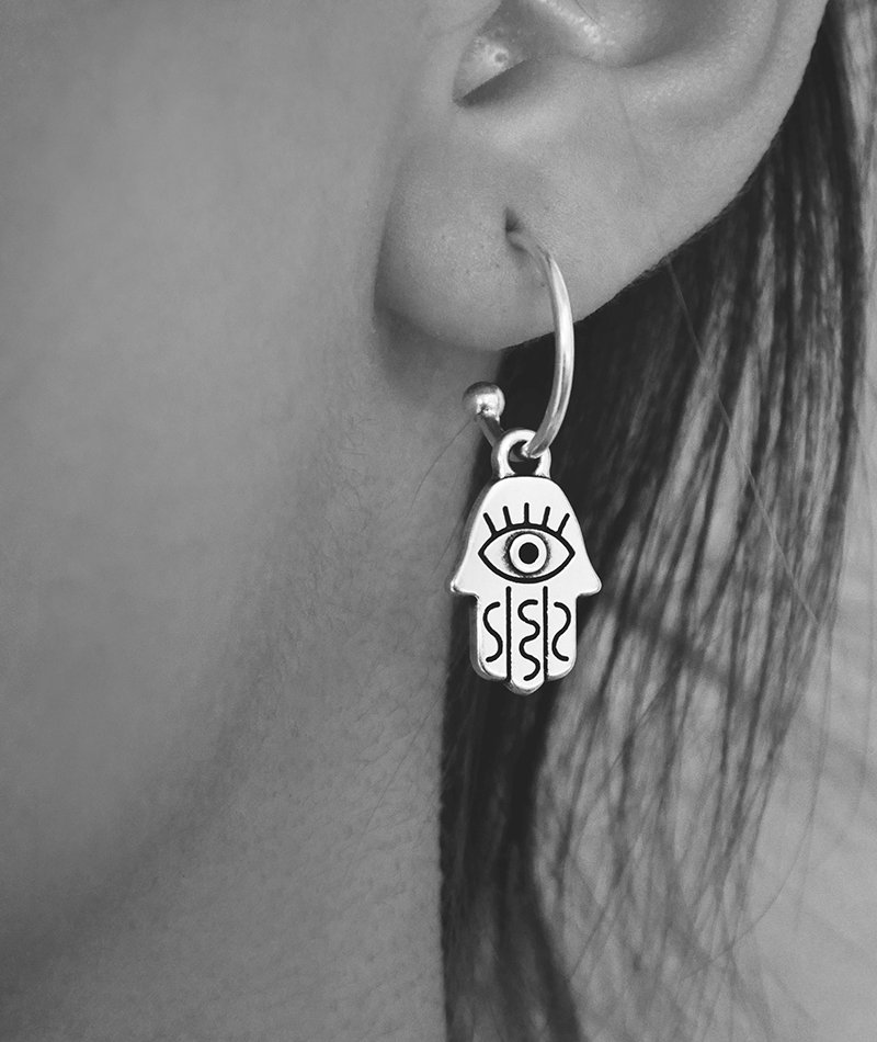 Khamsa Silver Earrings - Handmade