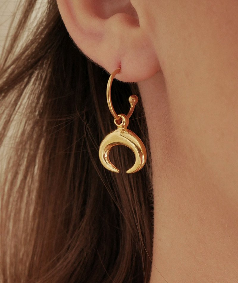 Lunar Horn Golden Earrings - Handmade