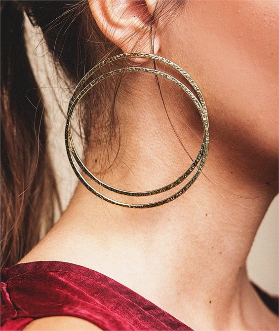 Double Trap Hoop Earrings - Handmade