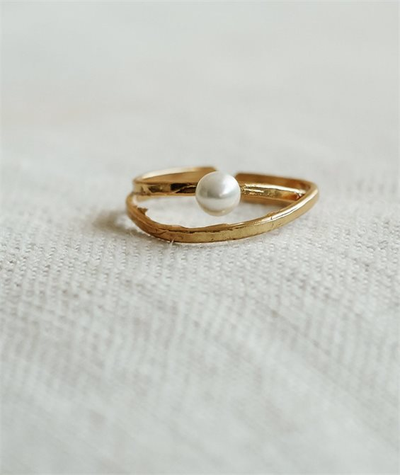 Shelled Pearl Ring - Handmade