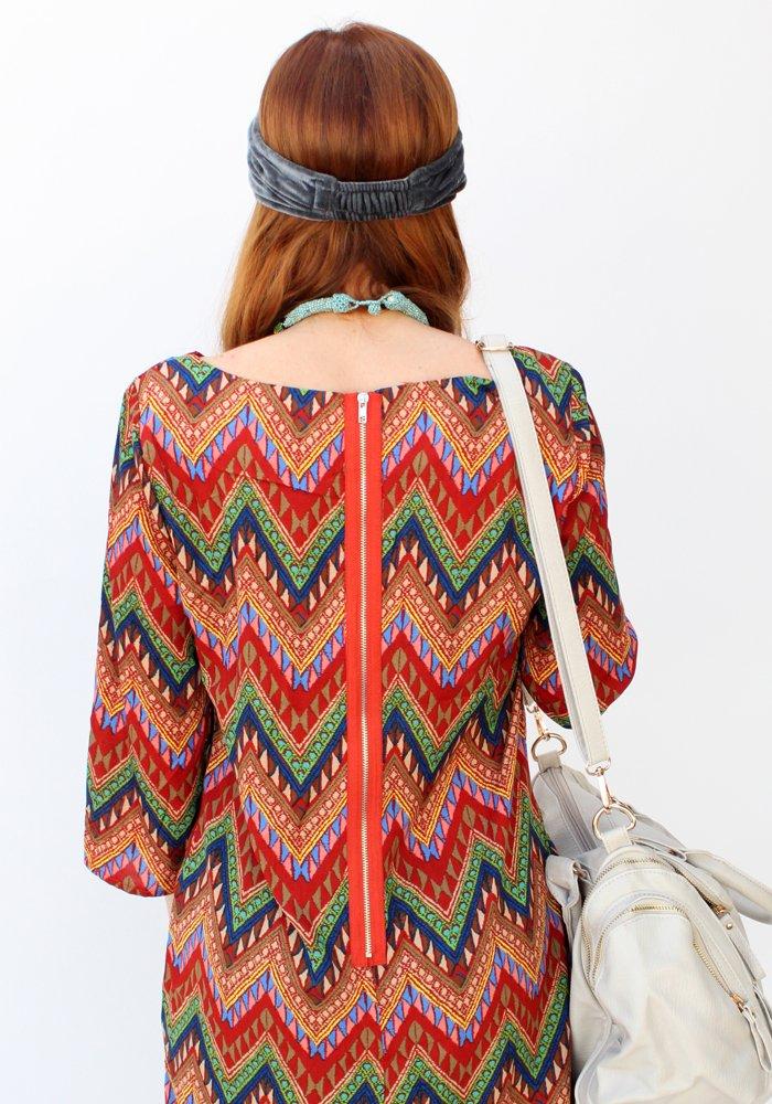 fe99bb1c343 Φόρεμα Straight Line Aztek Prints Rouge - ΡΟΥΧΑ
