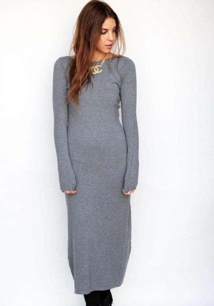 903db77ac6b5 Maxi Μάλλινο Φόρεμα Grey - ΡΟΥΧΑ