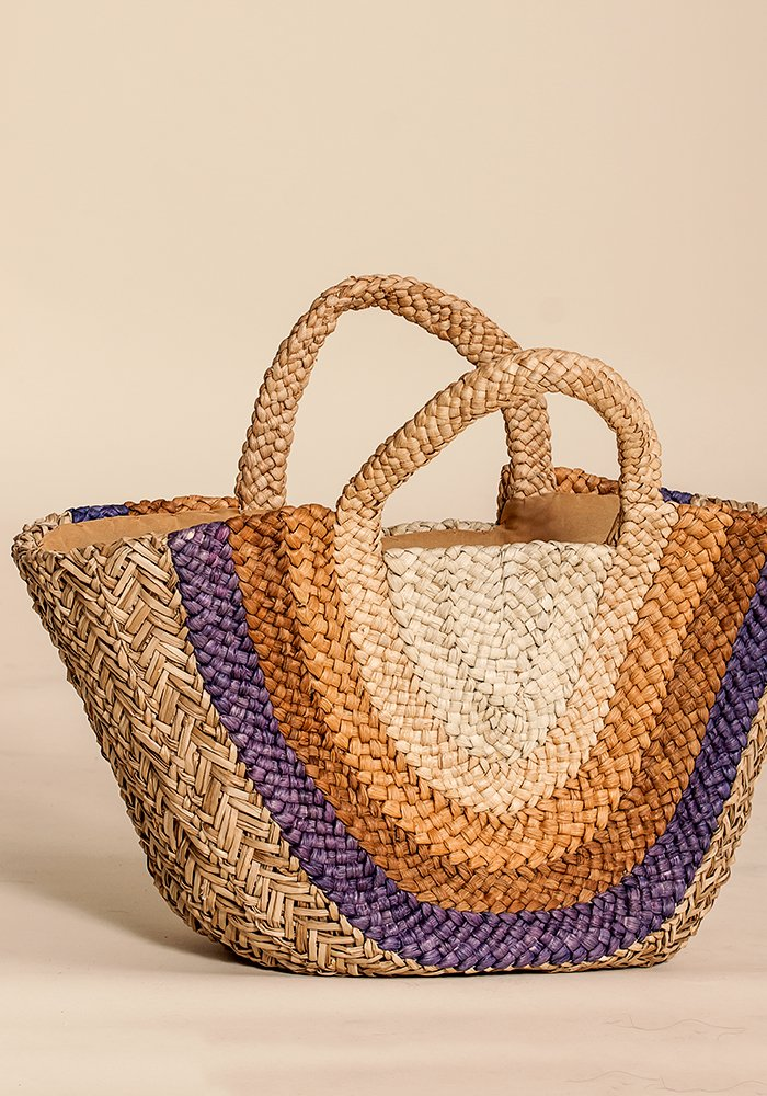 Rainbow Straw Market Basket