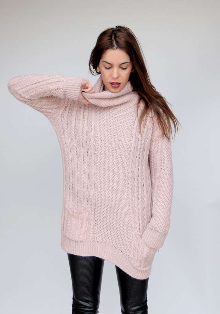 ab481ad3e677 Long Oversized Light Pink Sweater Roll Neck Pockets - ΡΟΥΧΑ